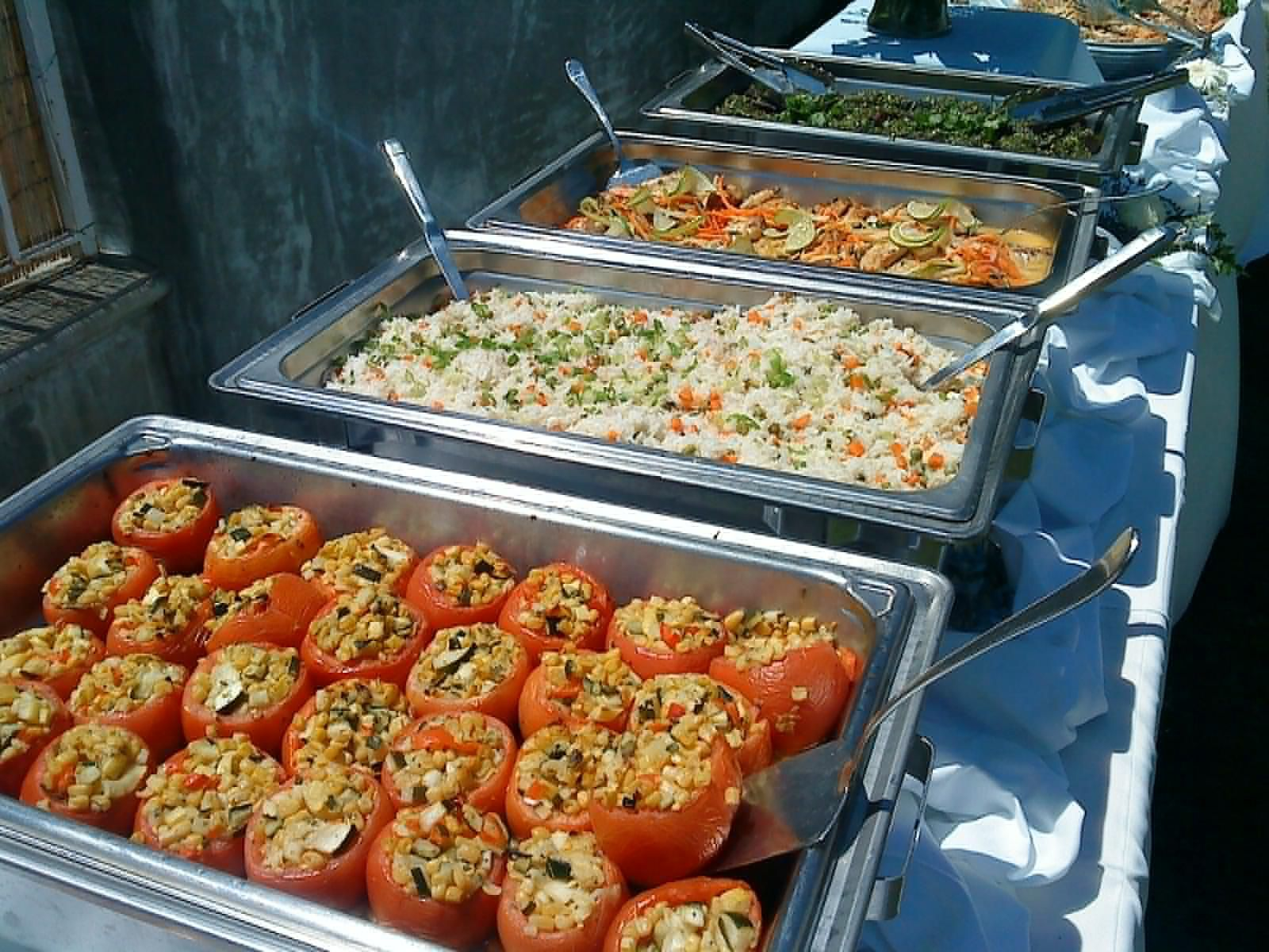 Buffet Chafers Full Of Vegan Food (Idea For Christmas Holiday