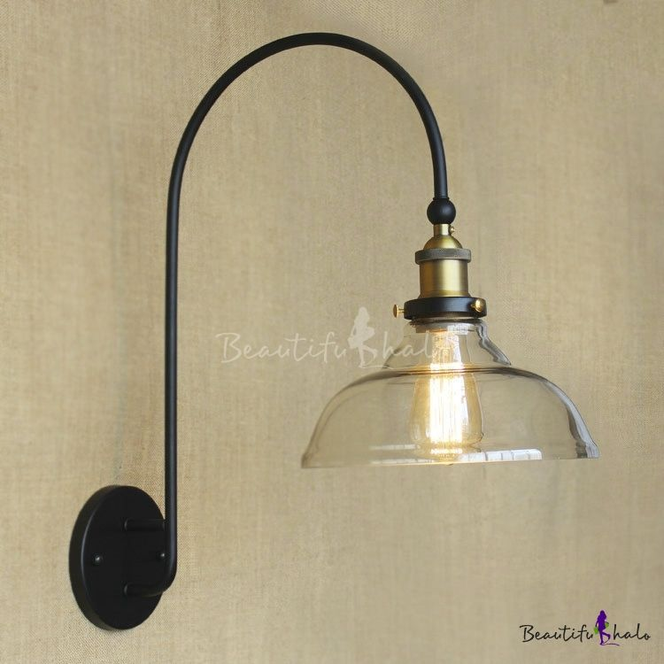 1 Light Led Wall Sconce With Clear Glass Shade Gooseneck Lighting Glass Wall Sconce Wall Sconces