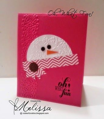 Stampin' Up! ... handmade winter card from RubberFUNatics ... hot pink ... punch art snowman heard ... bank of embossing on this one-layer card adds more dimension ... fun card!!