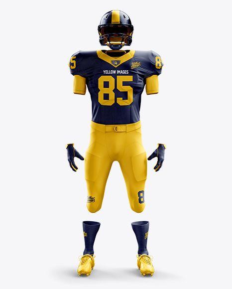 Download American Football Kit Mockup Front View In Apparel Mockups On Yellow Images Object Mockups Clothing Mockup Sports Garments Shirt Mockup