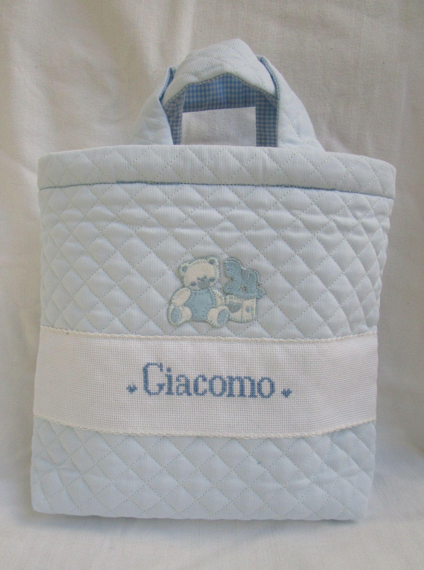 9ea7979542 Beauty case,borsa in tessuto trapuntato, personalizzata per Giacomo ...