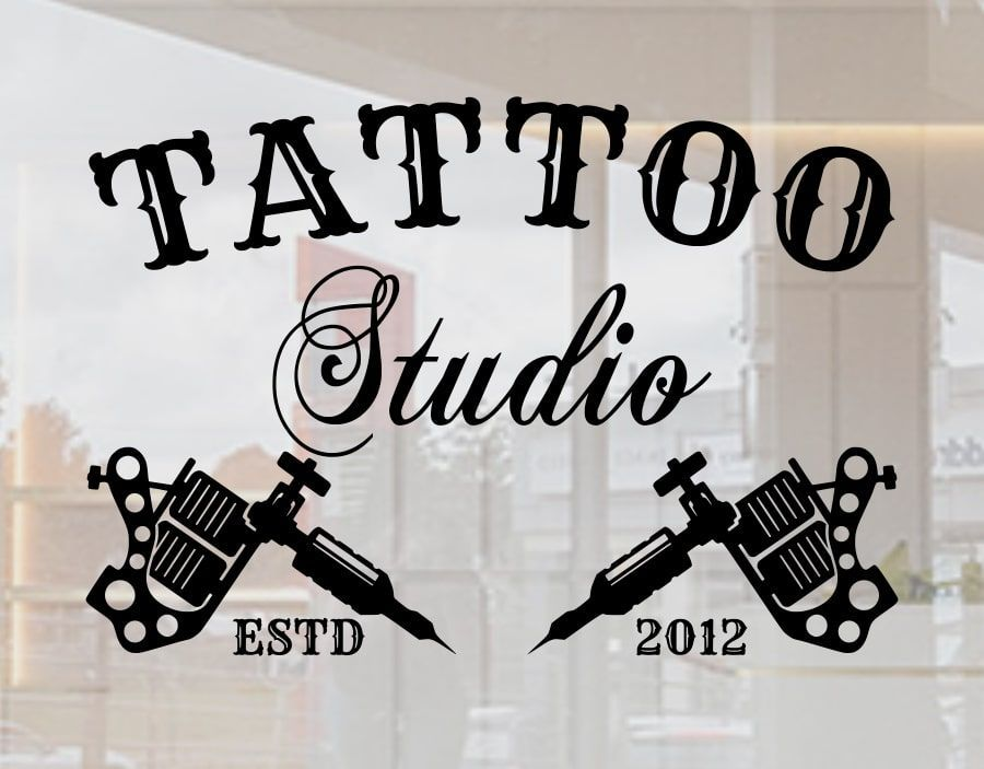 8cf3451cf730c8 Tattoo studio stickers for shop window signage the words tattoo and studio  with two tattoo guns below and the date established The window sign