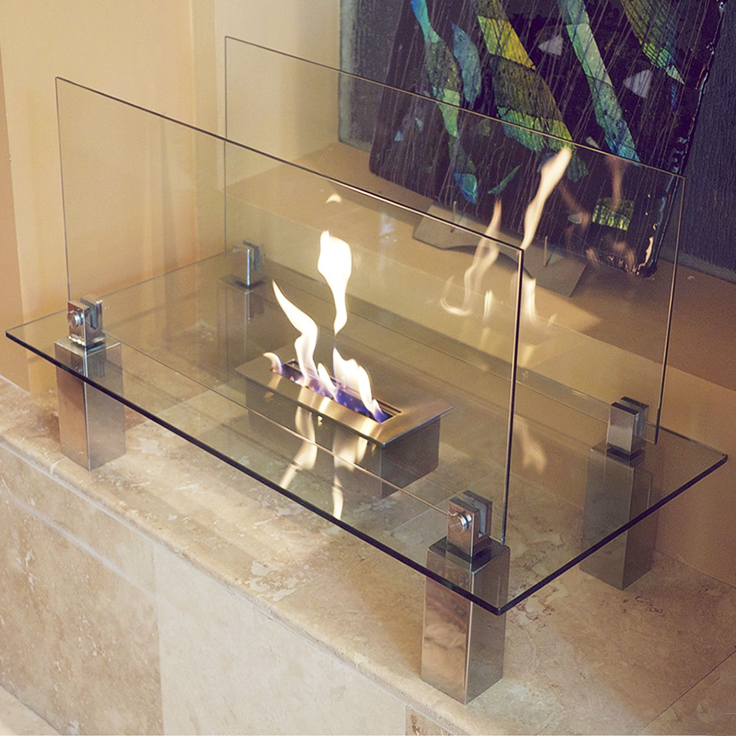 Minimalist Portable Fireplace. Burns clean Ecofriendly Bio-Ethanol fuel.