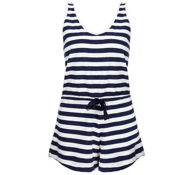 Solid & Striped The Romper Navy and White Stripe Playsuit ($93) ❤ liked on Polyvore featuring jumpsuits, rompers, navy, cotton romper, striped rompers, playsuit romper, short sleeve romper and navy romper