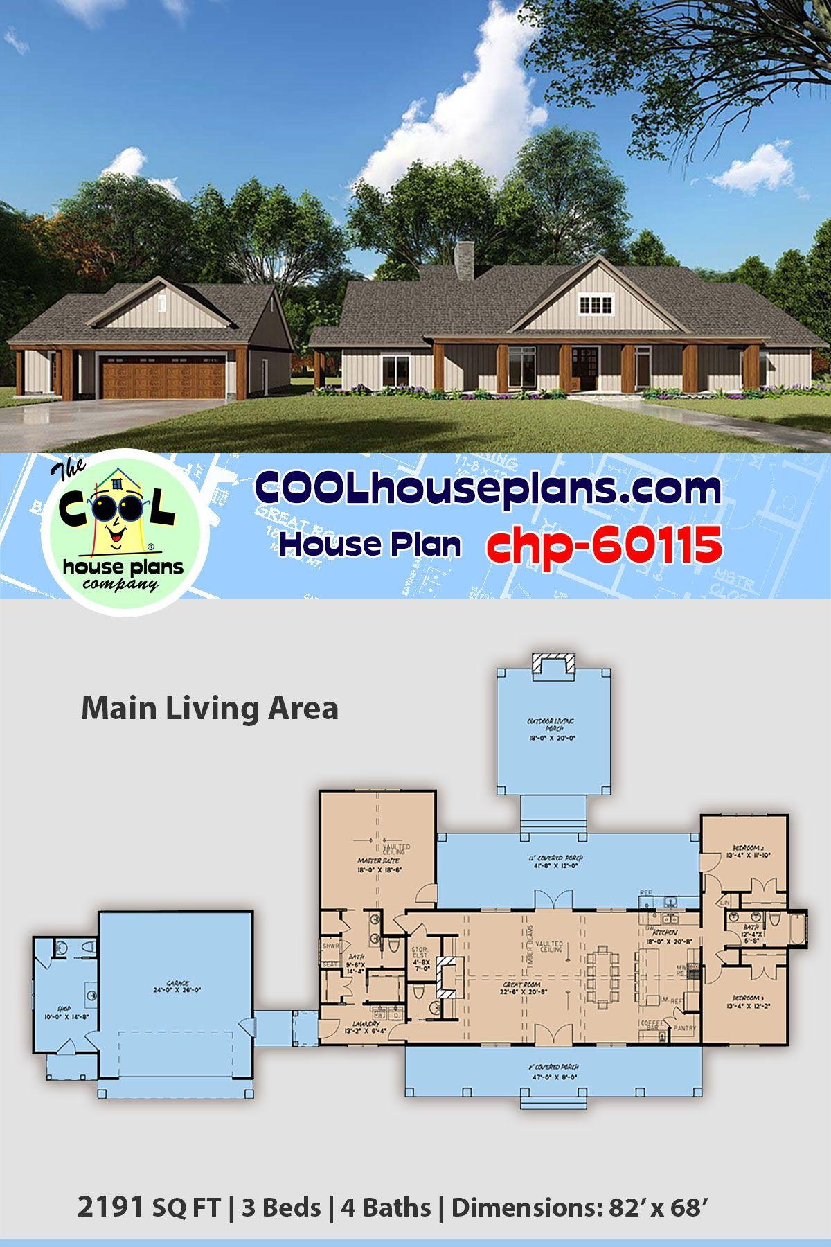 Farmhouse Style House Plan 82536 With 3 Bed 4 Bath 2 Car Garage Farmhouse Style House Plans Rustic House Plans House Plans