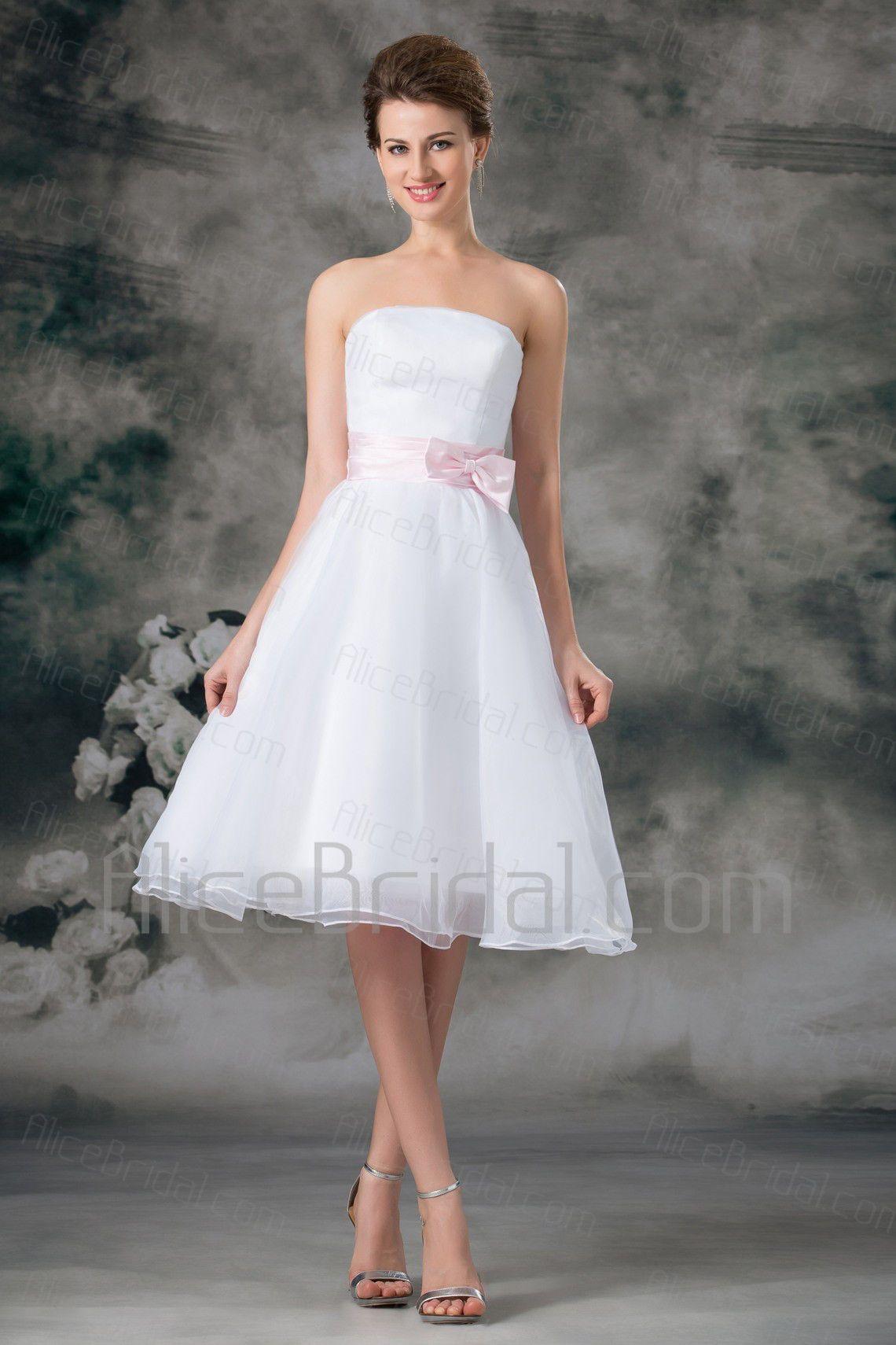 Organza Strapless Knee Length A Line Sash Short Wedding Dress Organza Bridal Bow Wedding Dress Wedding Dresses [ 1710 x 1140 Pixel ]