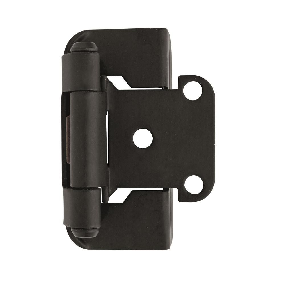 Amerock 1 2 In 13 Mm Overlay Self Closing Partial Wrap Flat Black Hinge 2 Pack Overlay Hinges Hinges For Cabinets Black Flats