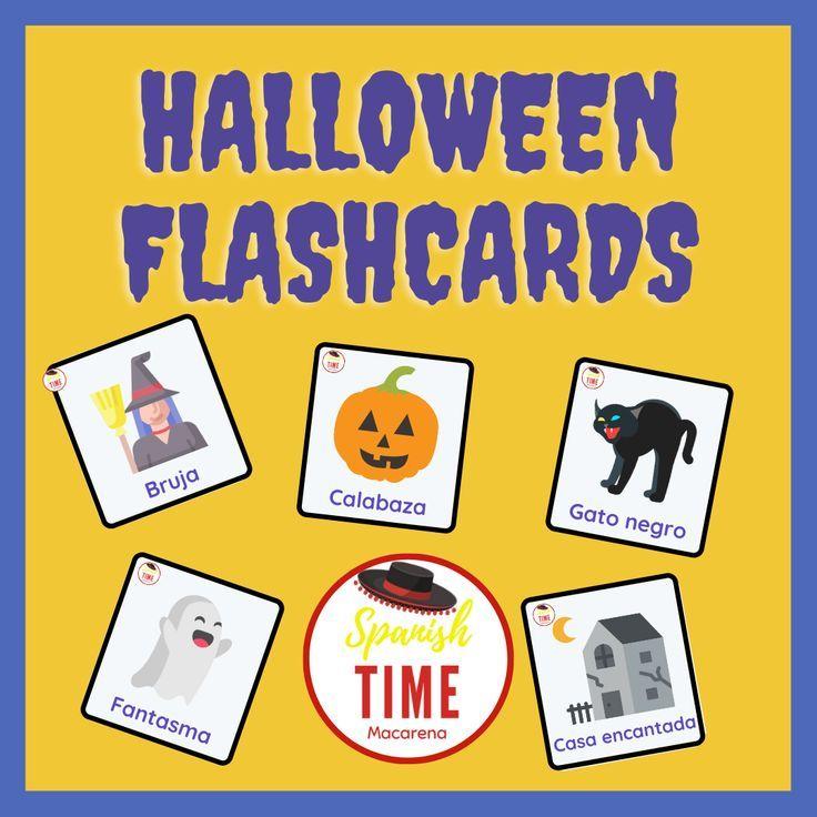 Pack de flashcards para Halloween en español. Halloween flashcards in Spanish.