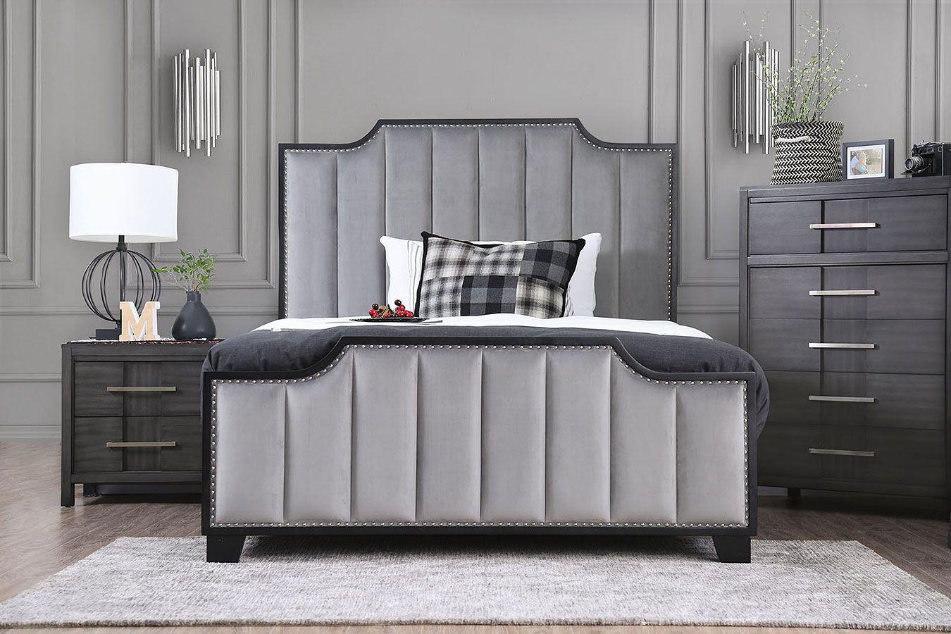 Espin Gray Upholstered Bedroom Set Upholstered Bedroom Upholstered Bedroom Set Grey Upholstered Bed