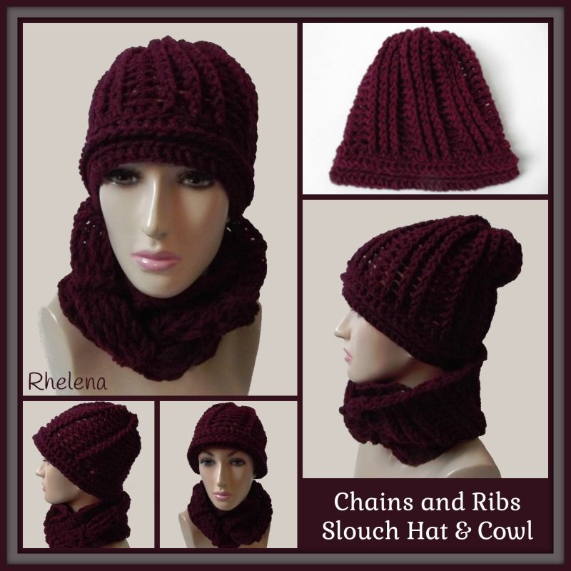 Free Crochet Pattern For The Chains And Ribs Slouch Hat And Cowl In