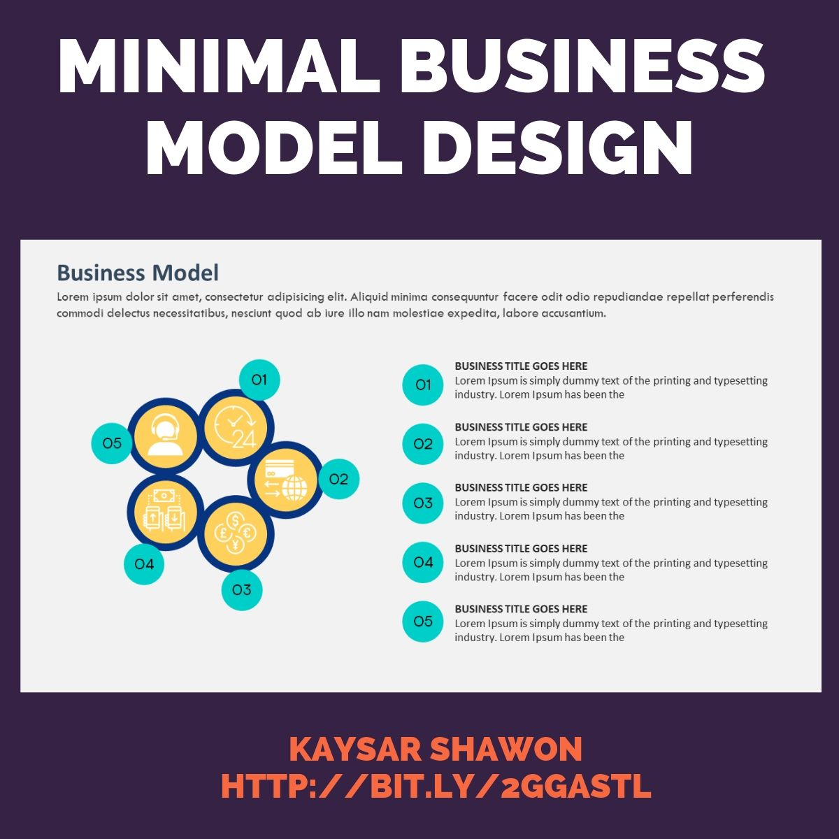 PowerPoint minimal business model slide and template