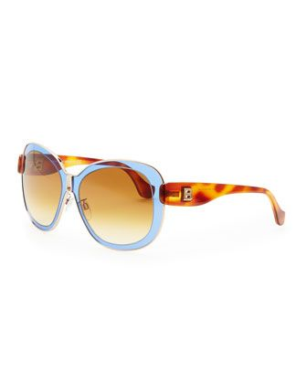 Transparent Framed Sunglasses, Blue/Brown by Balenciaga at Neiman Marcus. WANT