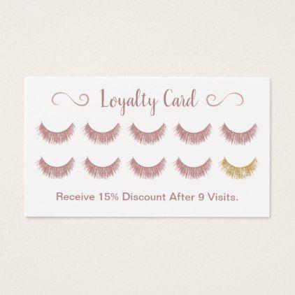 Loyalty Card | Rose Gold Eyelashes Lash Bar Makeup | Zazzle.com #lashroomdecor