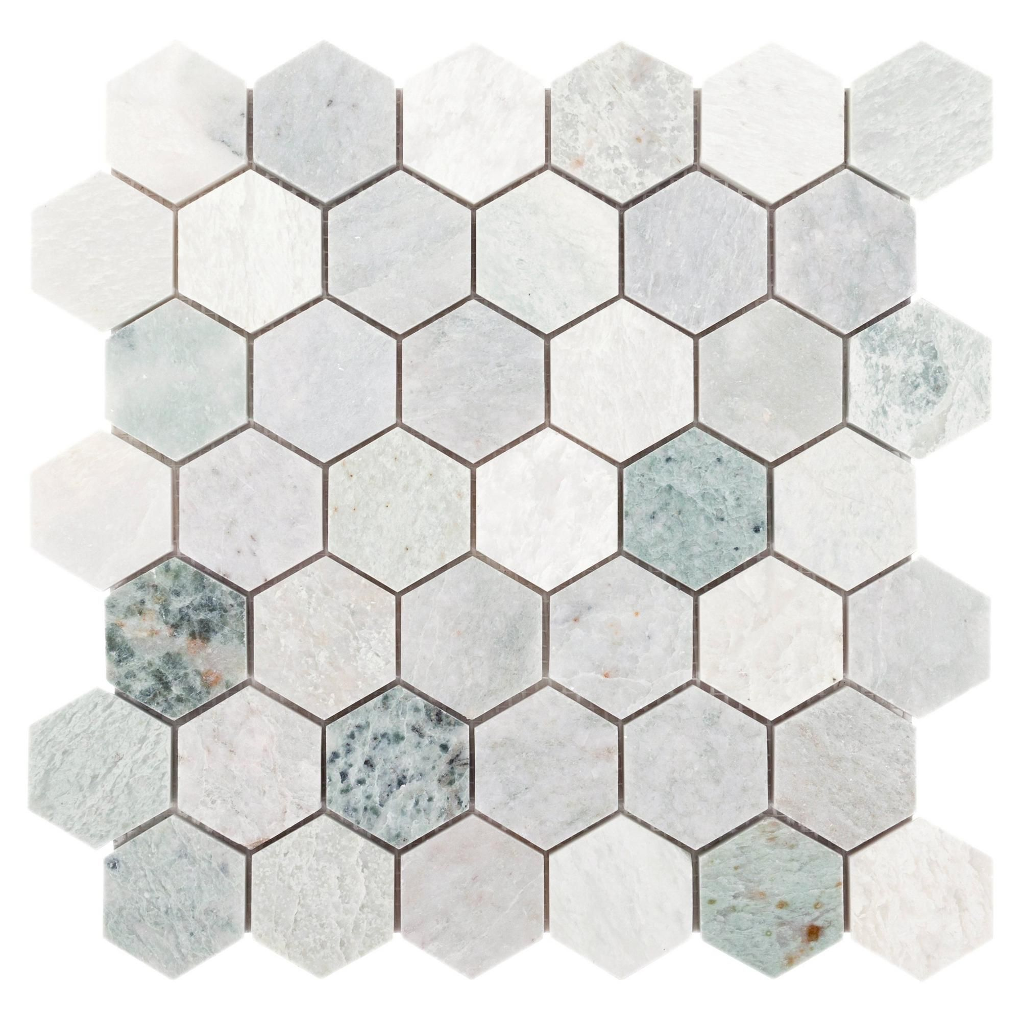Caribbean Green Hexagon Marble Mosaic Floor Decor Marble Mosaic Floor Marble Mosaic Polished Marble Tiles