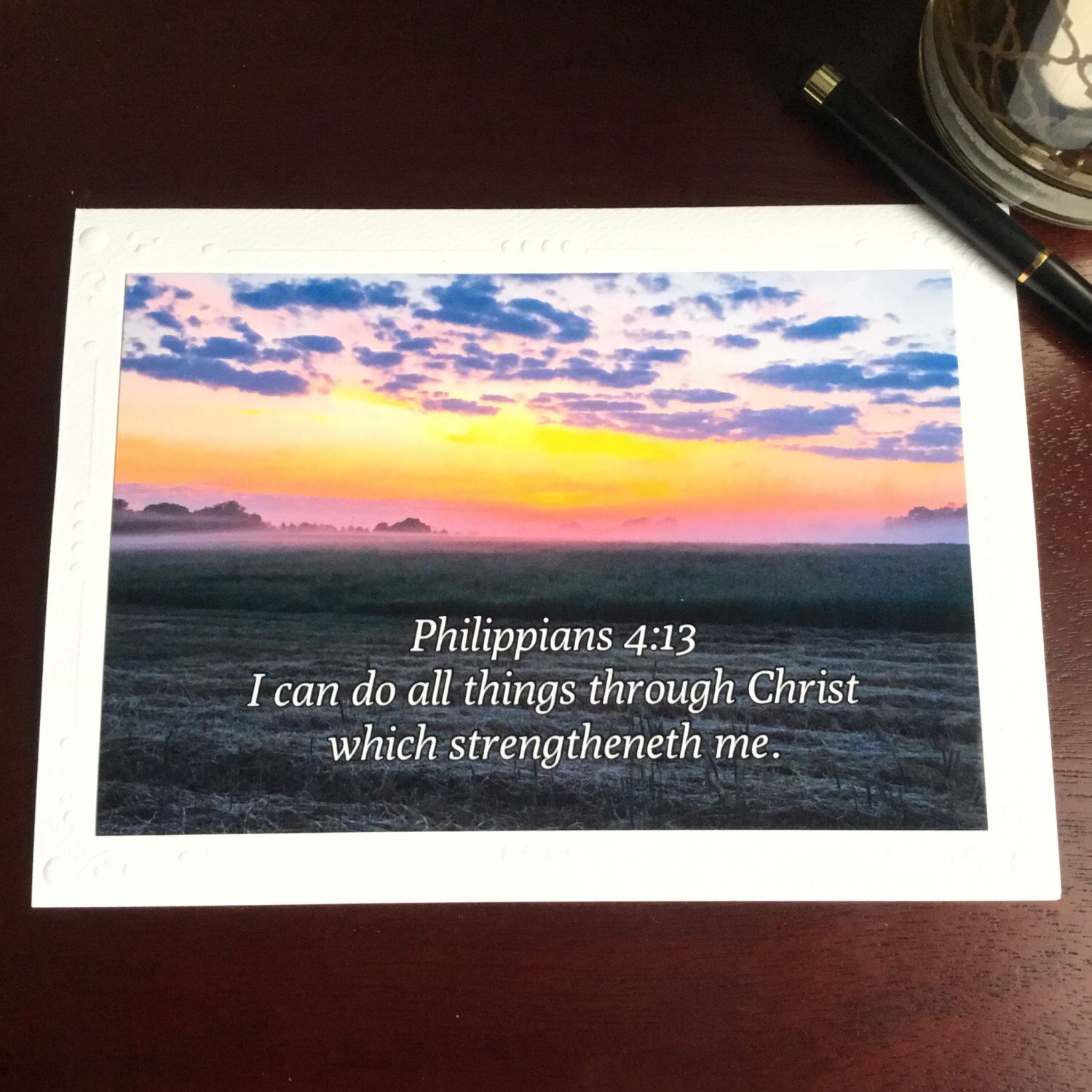 A personal favorite from my Etsy shop https://www.etsy.com/listing/503700083/bible-verse-photo-note-card-blank-all