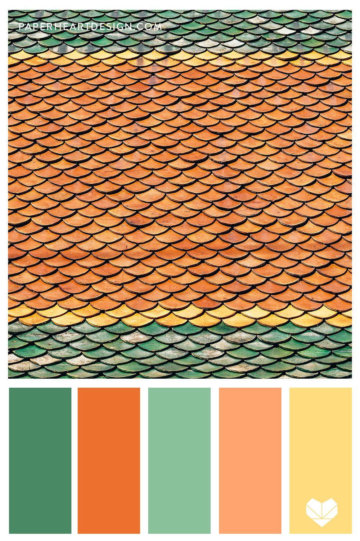 Color Palette Outstanding Orange Paper Heart Design In 2020 Color Palette Orange Color Palettes Green Colour Palette