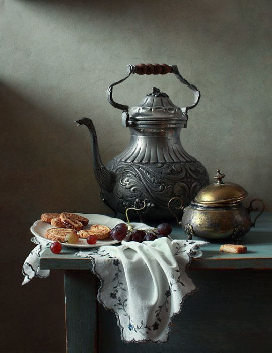 Tea with biscuits and grapes © Ð ...