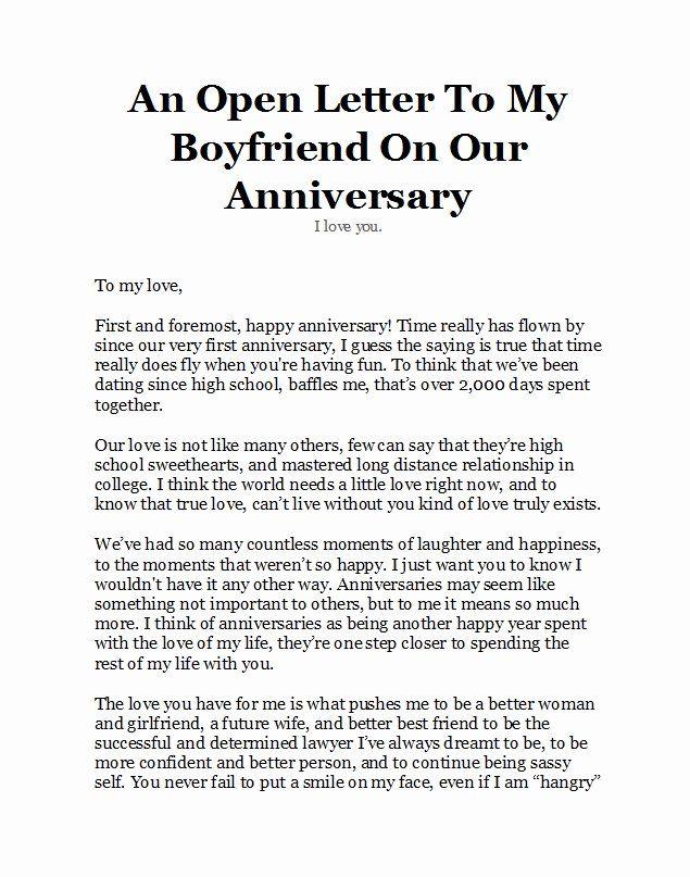 Anniversary Letter for Boyfriend New 50 Romantic