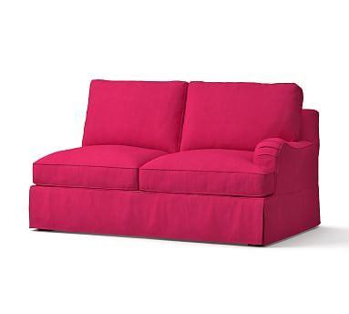 PB Comfort English Arm Right-arm Loveseat Slipcover, Box Edge, Linen Blend Pink Magenta