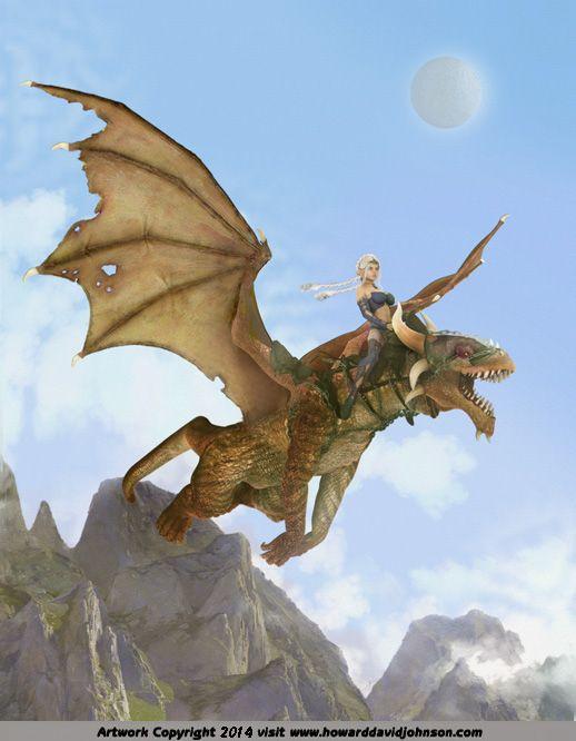 painting elven enechantree riding a dragon