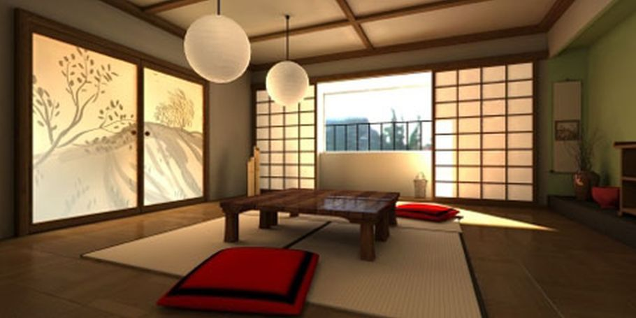Traditional Japanese Style Home Living Room Interior Design With Stylish Red Fabric Square Japanese Home Design Modern Japanese Interior Japanese Living Rooms