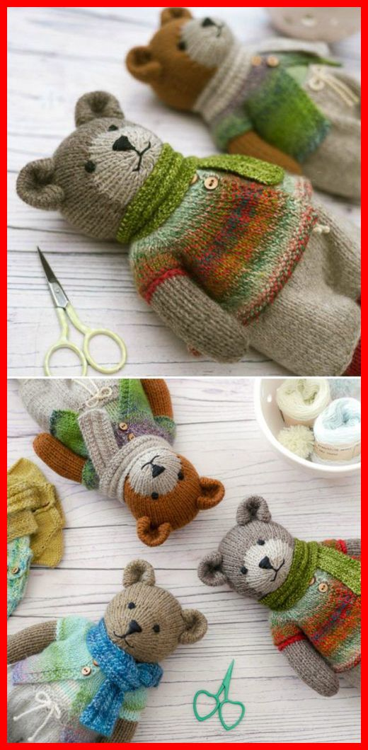 Knitted Teddy Bear - Knitting Pattern #knittingprojects