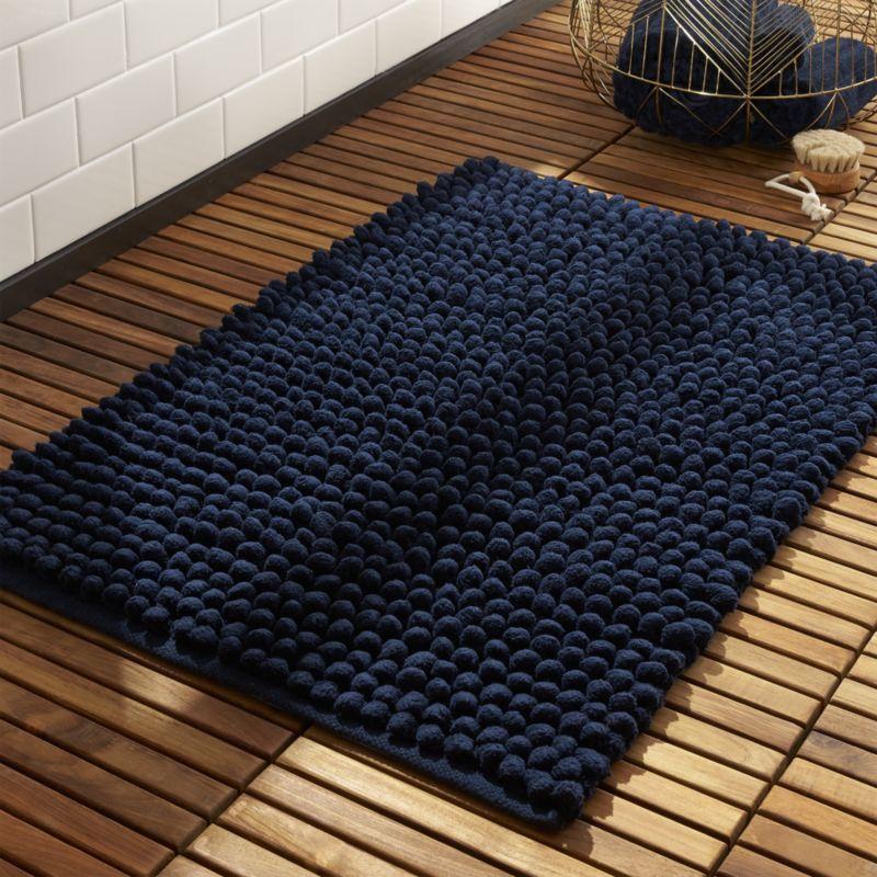 Shop Cirrus Navy Bath Mat Fluffy Chenille Pompoms Soften Hard Cold Tile And Absorb Like Crazy Handwoven For A High E Navy Bath Mat Modern Bath Mat Bath Mat