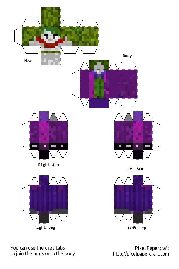 Papercraft Joker DIY Super Fun For Kids Pinterest Papercraft - Skins para minecraft pe joker