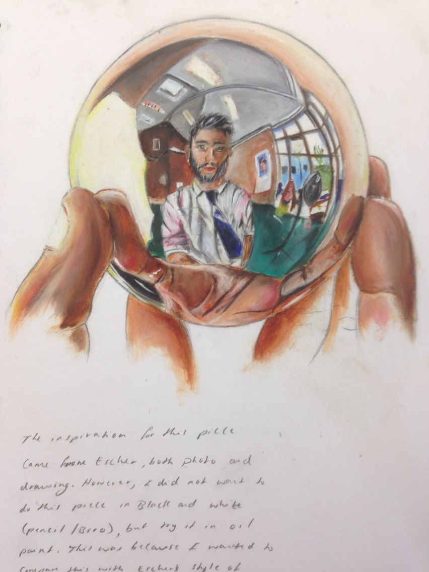 Jerrine, studying reflection and tonal rendering for the AS level External Assignment. St Marys Catholic High School