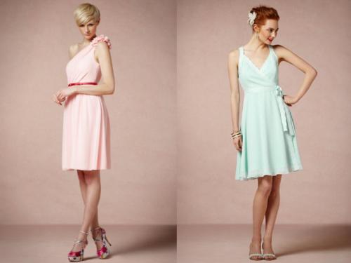 Vestidos cortos en colores nude para damas de boda - Foto BHLDN ...