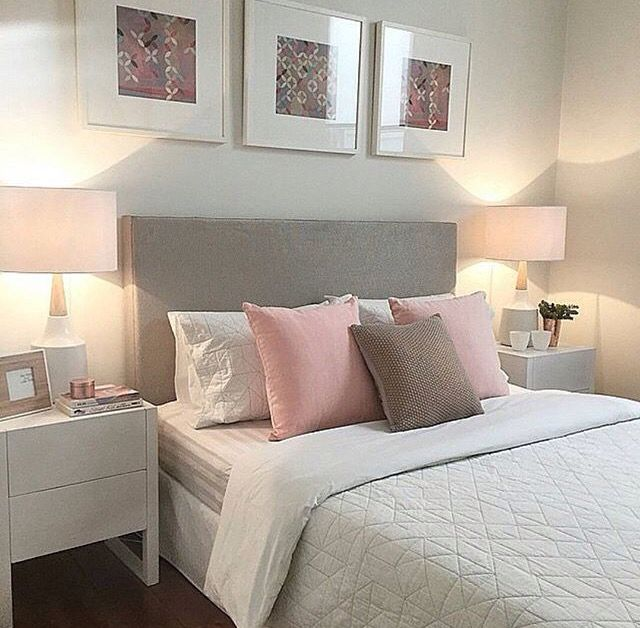 Deco Chambre lit pastel nuances de rose et gris Chambre