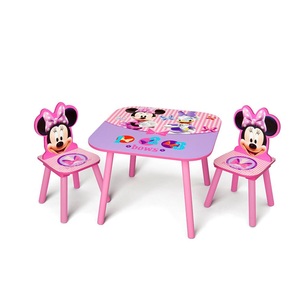 Kids Activity Table Storage Chairs Set Disney Minnie Mouse Toddler Preschool New