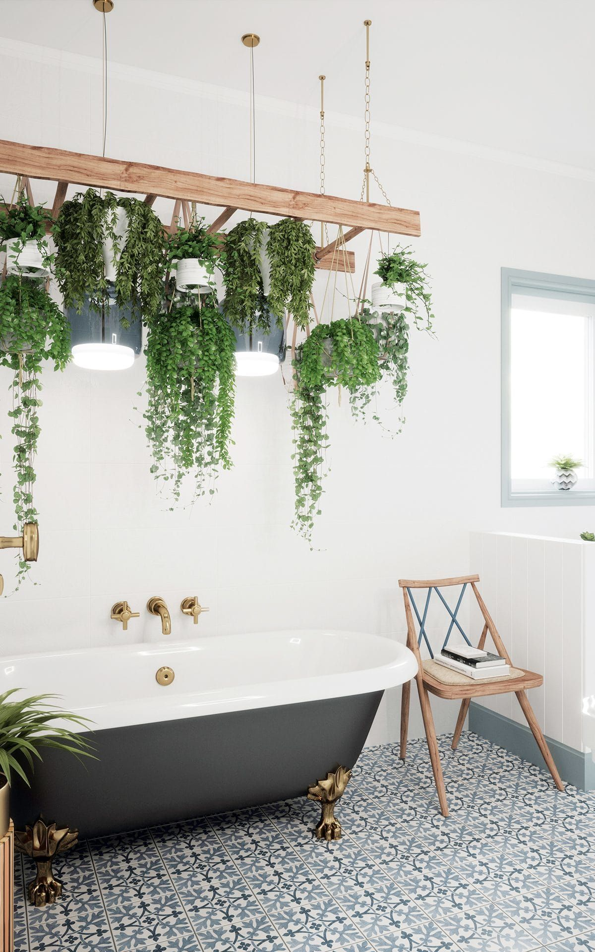 Plants are hung from a ladder in this bathroom. Pugin Filigree ...