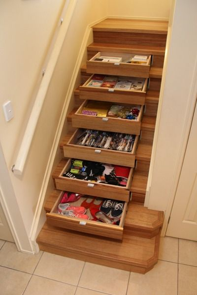 Instep drawers under stair storage men 39 s decorum for Under stairs drawers plans