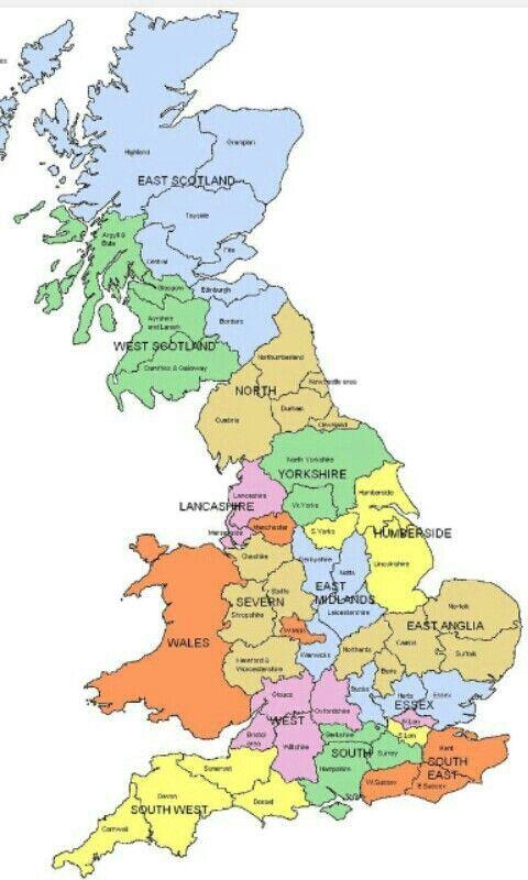 Mapa Inglaterra Counties Of England Map Scotland