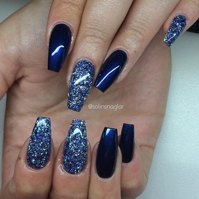 Solin Sadek On Instagram Midnight Blue Med Egenblandat Glitter Blue Gel Nails Gel Nails Prom Nails