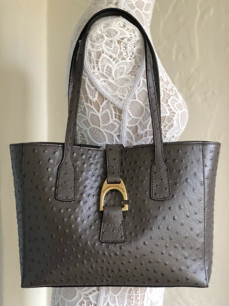 85cba70d9845 Dooney   Bourke Ostrich Small Shannon Tote Pewter 799344753504