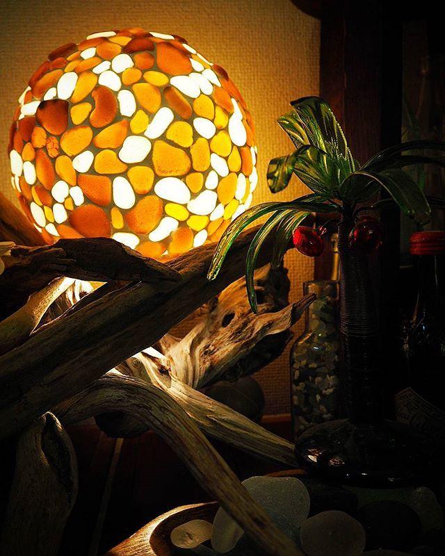 #シーグラス#seaglass#lamp#流木#ランプシェード#brown