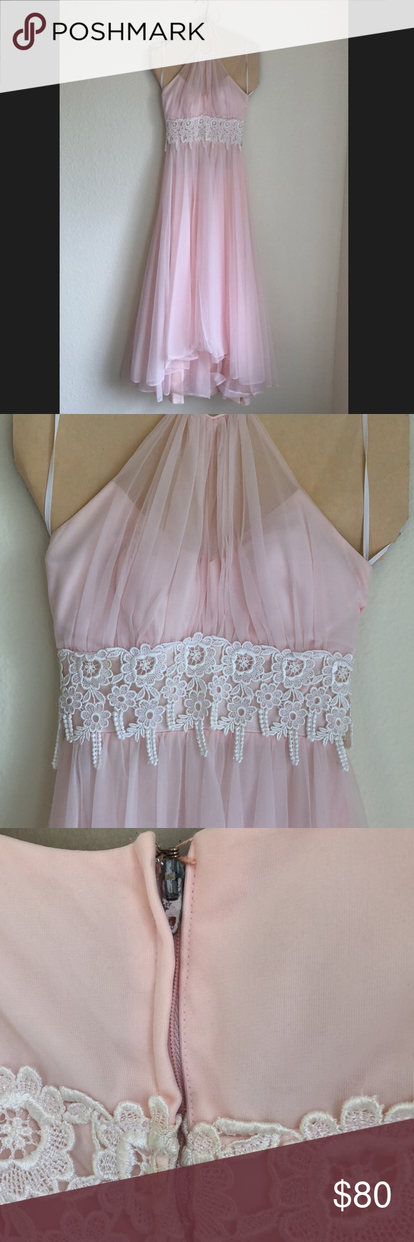 Beautiful baby pink halter style formal dress in my posh
