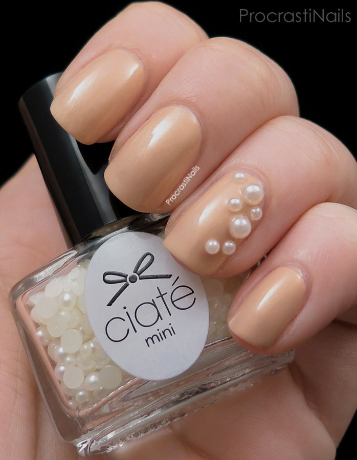 Ciate Girl With a Pearl nail art pearls over Ciate Ivory Queen ...
