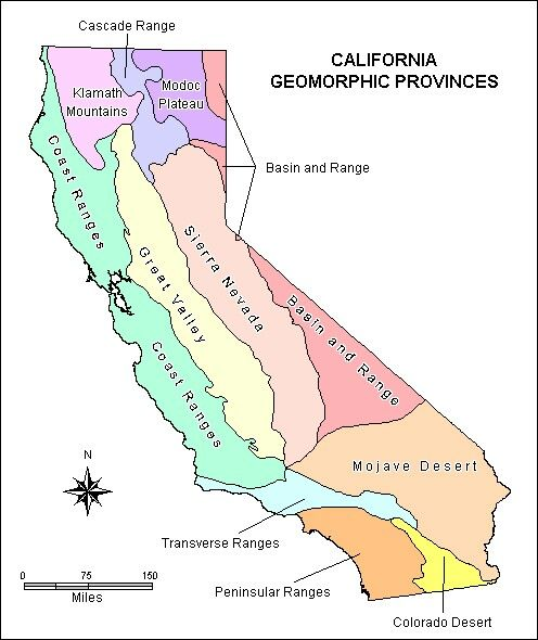 Northern California Map Of Mountain Ranges.California Regions The Coast Ranges There Are Mountains Along The