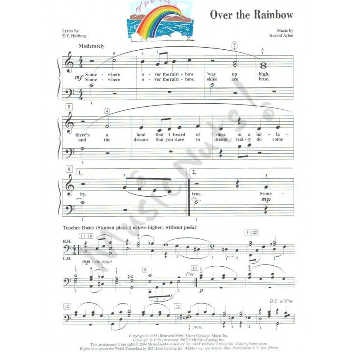 Piano somewhere piano sheet music : Somewhere over the rainbow accelerated piano adventure | Sheet ...