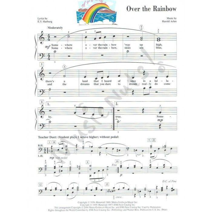 Over The Rainbow Lyrics Sheet Music: Somewhere Over The Rainbow Accelerated Piano Adventure