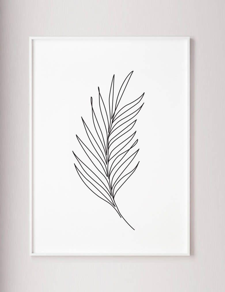 Palm Leaf Print, Plants line art, Abstract wall print, Minimalist art, One line drawing, wabi sabi, -   13 minimalist planting Art ideas