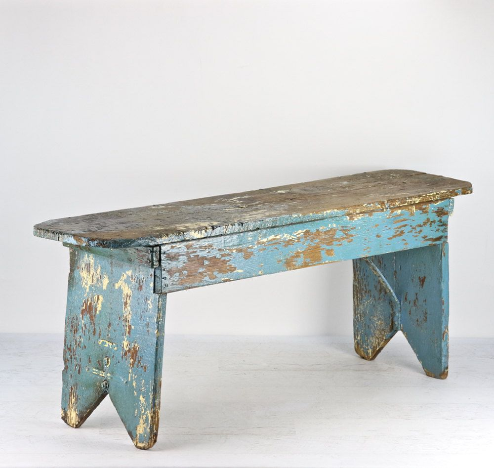 Rustic Wooden Foyer Bench : Farmhouse bench turquoise old rustic