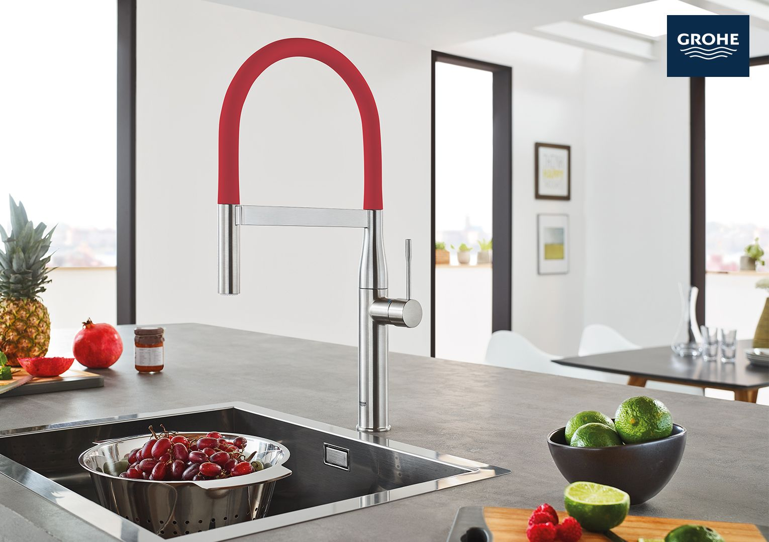 The new GROHE Essence Semi-Pro Kitchen Faucet has modern design and ...