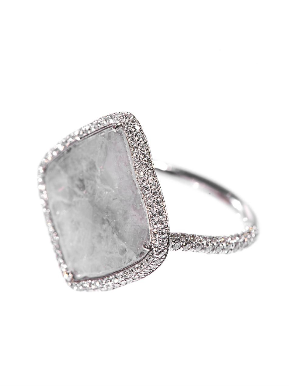 Susan Foster Diamond slice & white-gold ring hdPCT