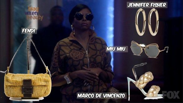 Empire Season 3 Episode 1 Fashion: Cookie wore a custom spring 2016 Dries Van Noten Brown Zipper Rose Embroidered Jacket with Matching Drawstring Embroidered Jacket, a Beaded Gold and Brown Fendi Baguette Bag, a pair of Jennifer Fisher Samira Hoop Earrings, Miu Miu Butterfly Wing Sunglasses and Marco De Vincenzo Gold Braided Sandals