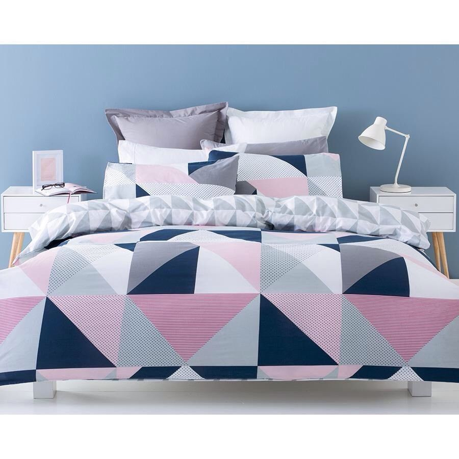 NAVY PINK GREY WHITE GEOMETRIC QUEEN Bed QUILT DOONA COVER SET NEW #Home