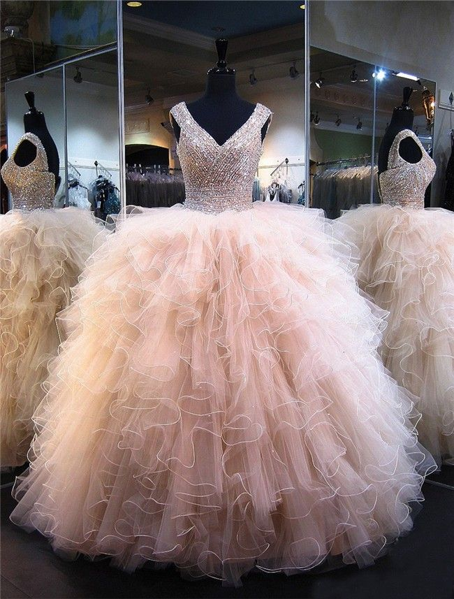 Ball Gown V Neck Champagne Tulle Ruffle Beaded Puffy Quinceanera ...